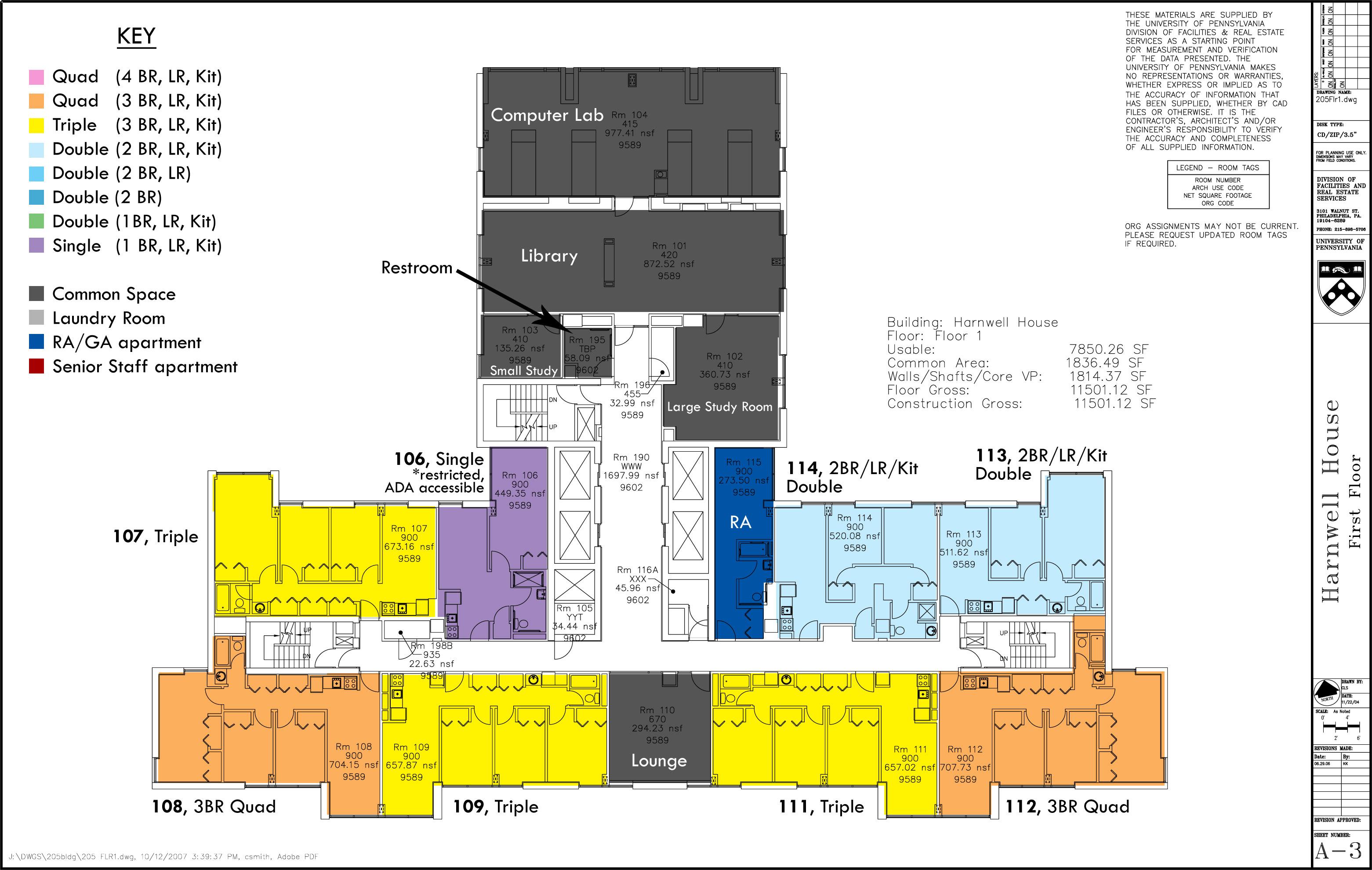floor plans college houses academic services harnwell 1st floor jpg